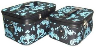2 Piece Blue Black Damask Hard Sided Cosmetic Train Case Set Travel or Home