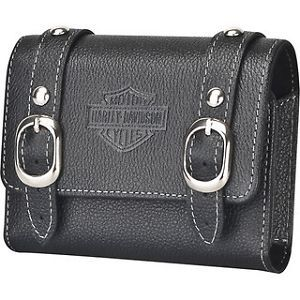 New Harley Davidson Black Leather Saddle Bag Case Phone Camera GPS iPhone Droid
