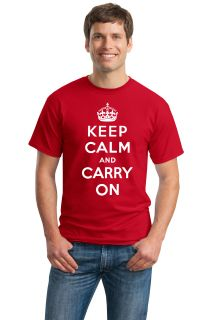 Keep Calm and Carry on Adult Unisex T Shirt British WWII Churchill War Poster