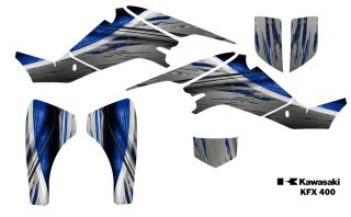 Kawasaki KFX 400 ATV Quad Graphics Decal Kit 1400 Blue