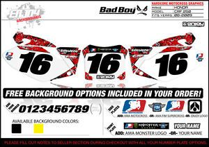 2008 2009 Honda CRF 250 Team Bad Boy Number Plate Graphics by Enjoy