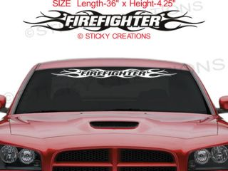 108 Firefighter Tribal Flame Windshield Sticker Vinyl Graphic Design Decal SUV
