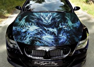 Hood Wrap Full Color Print Vinyl Decal Fit Any Car Devil Dragon 212
