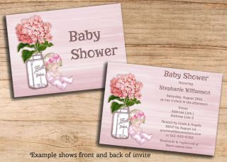 Girl Baby Shower Pink Hydrangea Mason Jar Invitations Printable DIY JPEG Invites