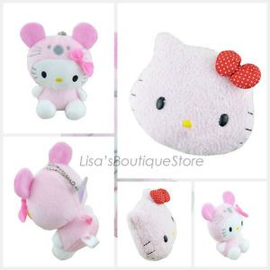 2 Pcs Set Kid Child Pink Cartoon Cat Sweet Cartoon Cat Safty Plush Toy Adornment