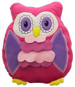 Night Owl Cushion Pillow Cute Kids Boys Girls Bird Plush Soft Toy Purple Pink