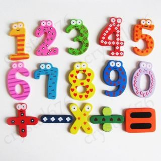 15pcs Wooden Cartoon Numbers 0 9 Fridge Magnets Kids Child Baby Toy Large Size