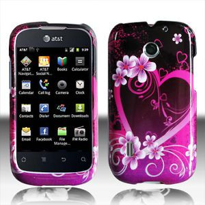 For at T GoPhone Huawei Fusion Hard Case Snap on Phone Cover Purple Love