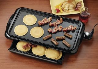 Large Nonstick Electric Griddle Warming Tray Grease Drip Catcher Pancake Grill