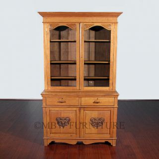 7ft Tall Antique English Golden Oak Victorian Bookcase Curio Showcase c1899 C66
