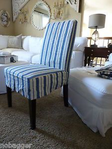 Pottery Barn Napa Side Chair Blue Oxford Cotton Linen Slipcover Short New