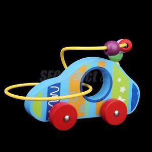 Wooden Jolting Car w Colorful Beads Educational Developmental Baby Toys for Kids