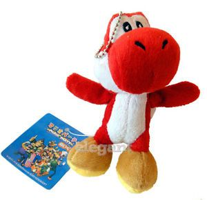 "Nintendo Super Mario Brothers Red Yoshi 5"" Stuffed Toy Kids Plush Doll Hanger"