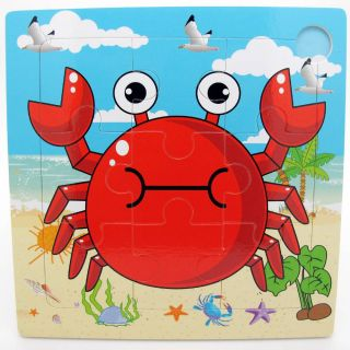 9pcs Wooden Crab Puzzle Educational Developmental Baby Kids Training Toy
