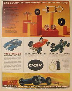 Cox 1965 Model Racing Slot Cars Kits Vintage Ford GT Ferrari Kids Toy Trade Ad