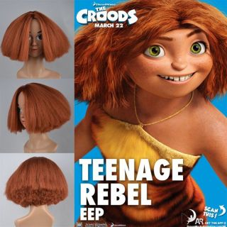 New The Croods Cosplay Wigs Woman Wig Carnival Party Brown Red Curly Hair Cap