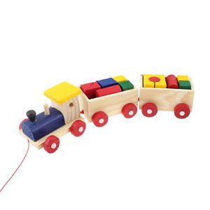 Assorted Color Wood Building Blocks 3 Vehicles Wooden Train Toys for Kids
