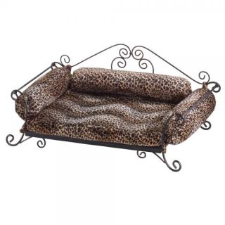 Leopard Print Cushion Dog Pet Bed Wrought Iron Base