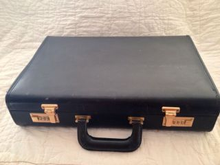 Coach Mens Hard Sided Black Leather Briefcase Attache Case Bag