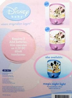 Disney Pink Baby Nightlight Girl Minnie Mouse Magic Picture Show Light New