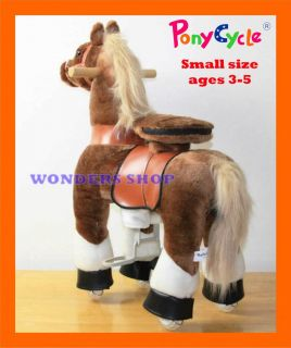 Small Brown Ride on Horse Ponycycle Really Walking Pony Toy Kids 3 5 Years