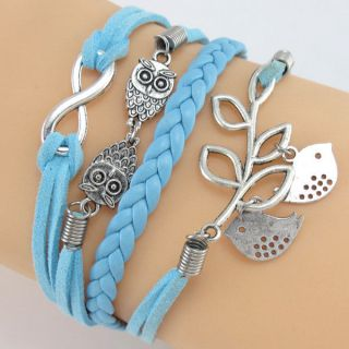 Double Fish Cute Antique Infinity Power Double Owl Charm Leather Wrap Bracelet