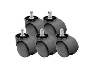 "Shepherd Dual Wheel Set of 5 Office Chair Casters with 7 16"" Grip Ring Stem PHT"