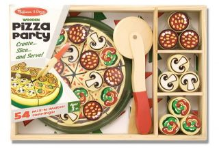 New Melissa Doug Wooden Toys Play Food Pizza Party Playset Toy 167