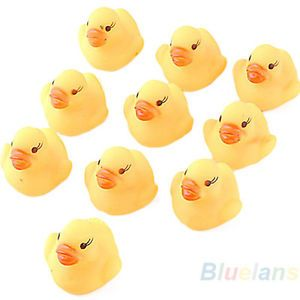 10x Baby Kids Children Bath Floating Toy Rubber Squeaky Duck Ducky Yellow BE4U