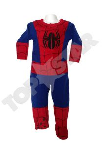 Kids Boys Fleece Licensed Superhero Onesie All in One Sleepsuit Fancy Dress NEW