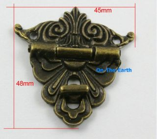 4 Antique Brass Decorative Hasp Jewelry Box Hasp Lock Latch 45x48mm with Screws