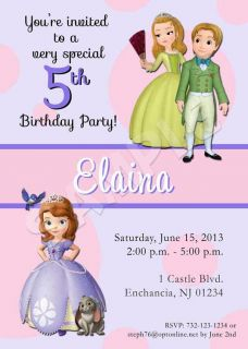 Sofia The First Birthday Party Personalized Custom Invitation Multiple Designs
