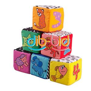 Funny Baby Kids Children Soft Cloth Animal Digital Pattern Stacking Blocks Toys