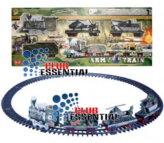 Battery Operated Army Military Express Train Track with Sound Light Toy Games