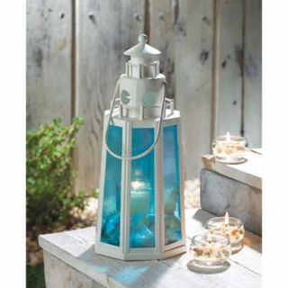 2 Ocean Blue Lighthouse Lamp Candle Lantern Wedding Centerpieces
