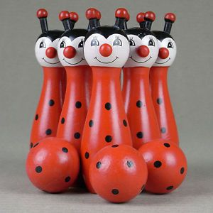 Mini Wooden Bowling Pins Hand Painted Lady Bug Beetles Skittles 3 Balls Kids Toy