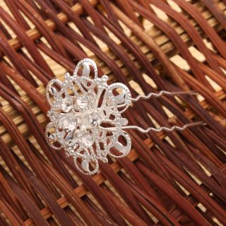 12pcs New Regal Wedding Bridal Charming Rhinestone Sunflower Hair Pins