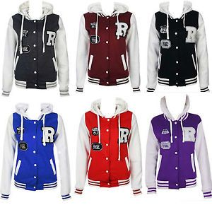 Kids Girls Boys Baseball Hooded Track Suit Hoodie Jacket Age 7 8 9 10 11 12 Year