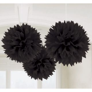 Large Fluffy Black Pom Decoration Bridal Baby Shower Birthday Party Ball Lantern