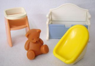 Little Tikes Dollhouse Miniatures Baby Nursery Lot High Chair Teddy Bear Toy Box