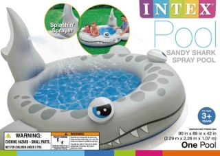 Intex Shark Spray Center Kids Inflatable Wading Pool 57433EP