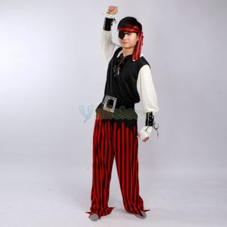Design Polyester Pirates Halloween Costume for Adult Male Black White Y 58
