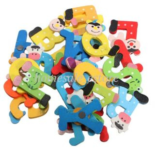 26pcs Colorful Baby Kid Child Wooden Alphabet Fridge Magnet Educational Game Toy