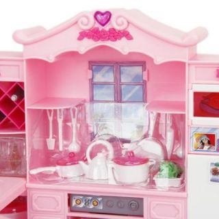 Kids Play Learn Dollhouse Furniture Toy Full Kitchen Refrigerator Set for Barbie