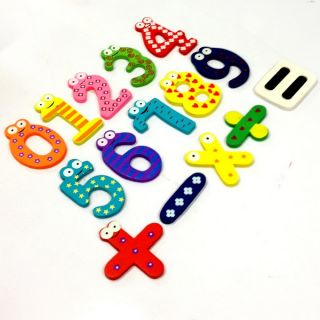 Kid Fridge Magnet Wood 0 9 Number Math Symbols Child Baby Educational Toy A1512