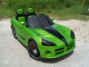 Custom 1 of A Kind Dodge Viper Ride on Toy Kid Trax Power Wheels Snakeskin Green