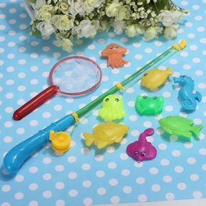Magnetic Fishing Game Toy 1 Rod 8 Fish 1 Net Makes Kids Children Bath Time Fun