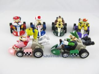6pcs Super Mario Bros Racing Tournament Game Pull Back Mini Car Nintendo Toy