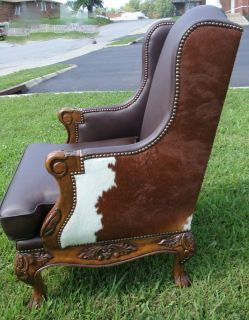 Hair on Hide Cowhide Dark Brown Leather Wing Chair Western