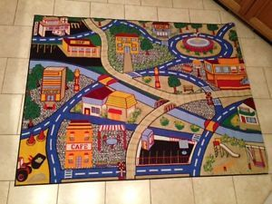 Childrens Road Town 5x7 Kids Police Play Game Rug Toy w Hot Wheels Matchbox Cars